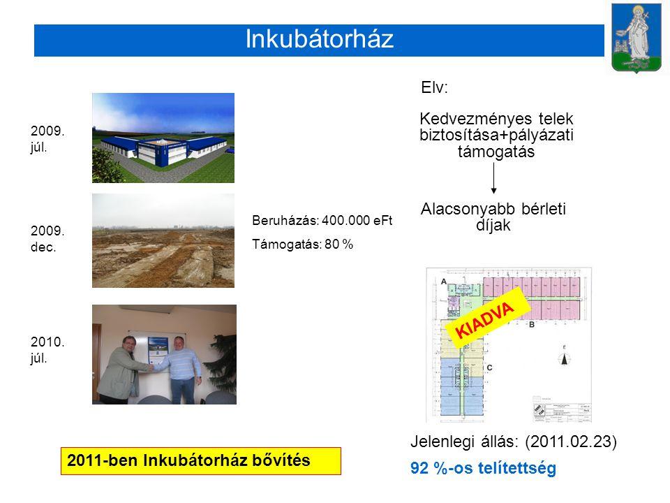 Inkubátorház Elv: Kedvezményes telek biztosítása+pályázati támogatás