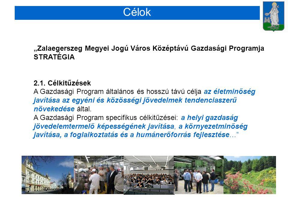 """Célok """"Zalaegerszeg Megyei Jogú Város Középtávú Gazdasági Programja"""