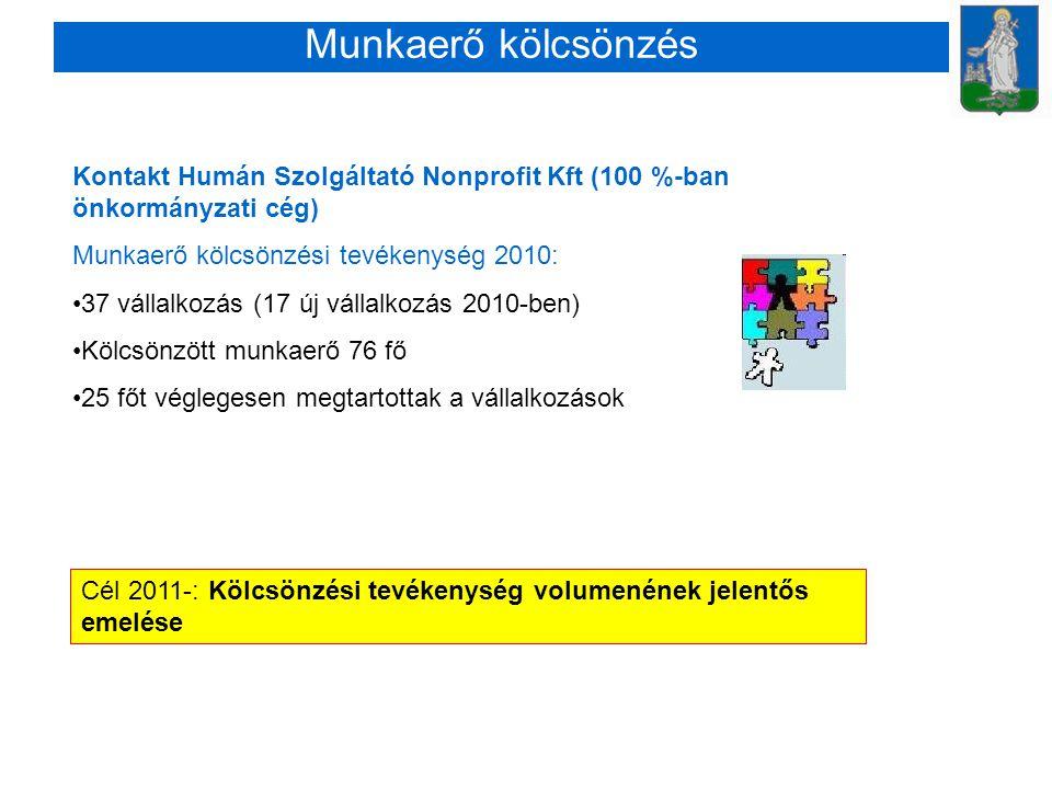 Munkaerő kölcsönzés Kontakt Humán Szolgáltató Nonprofit Kft (100 %-ban önkormányzati cég) Munkaerő kölcsönzési tevékenység 2010: