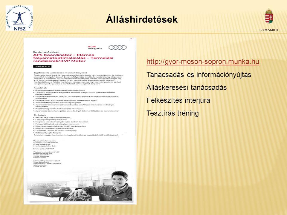 Álláshirdetések http://gyor-moson-sopron.munka.hu