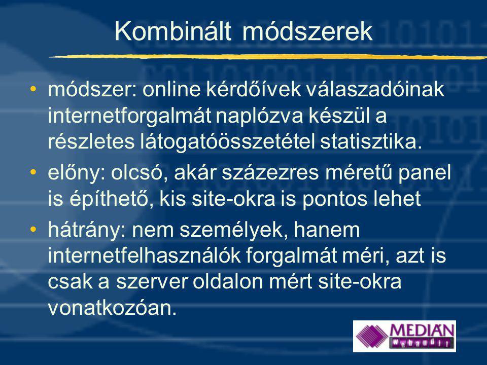 Kombinált módszerek módszer: online kérdőívek válaszadóinak internetforgalmát naplózva készül a részletes látogatóösszetétel statisztika.