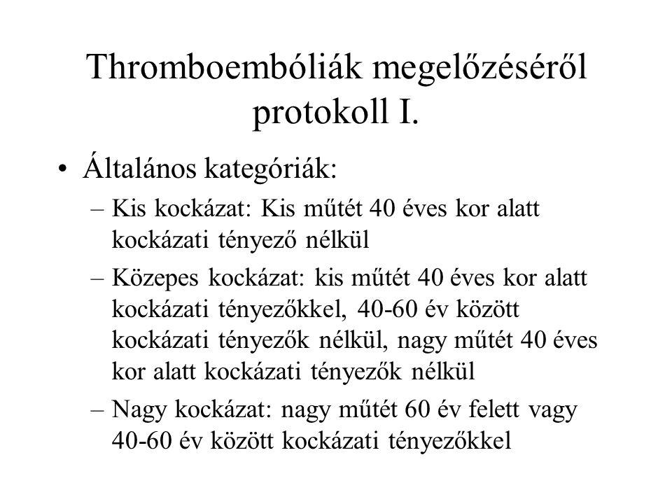 Thromboembóliák megelőzéséről protokoll I.