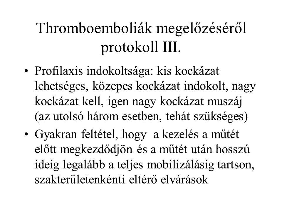 Thromboemboliák megelőzéséről protokoll III.