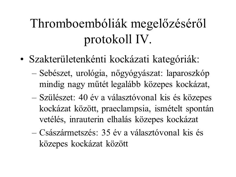 Thromboembóliák megelőzéséről protokoll IV.