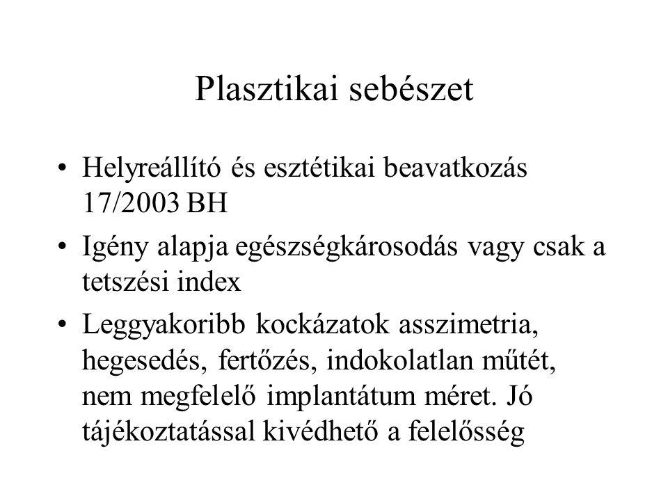Plasztikai sebészet Helyreállító és esztétikai beavatkozás 17/2003 BH