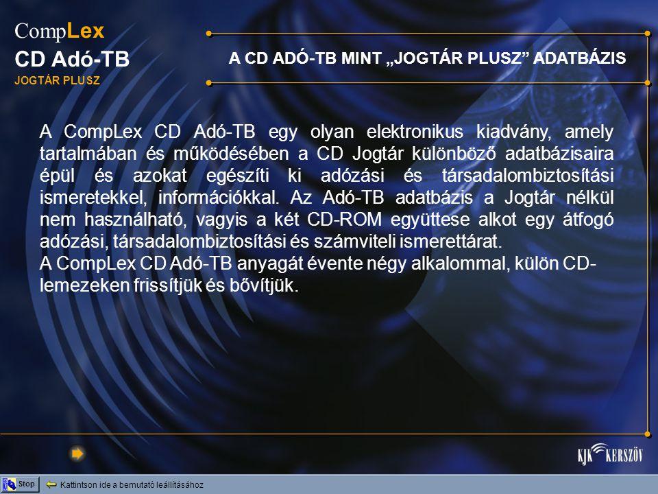 """A CD ADÓ-TB MINT """"JOGTÁR PLUSZ ADATBÁZIS"""