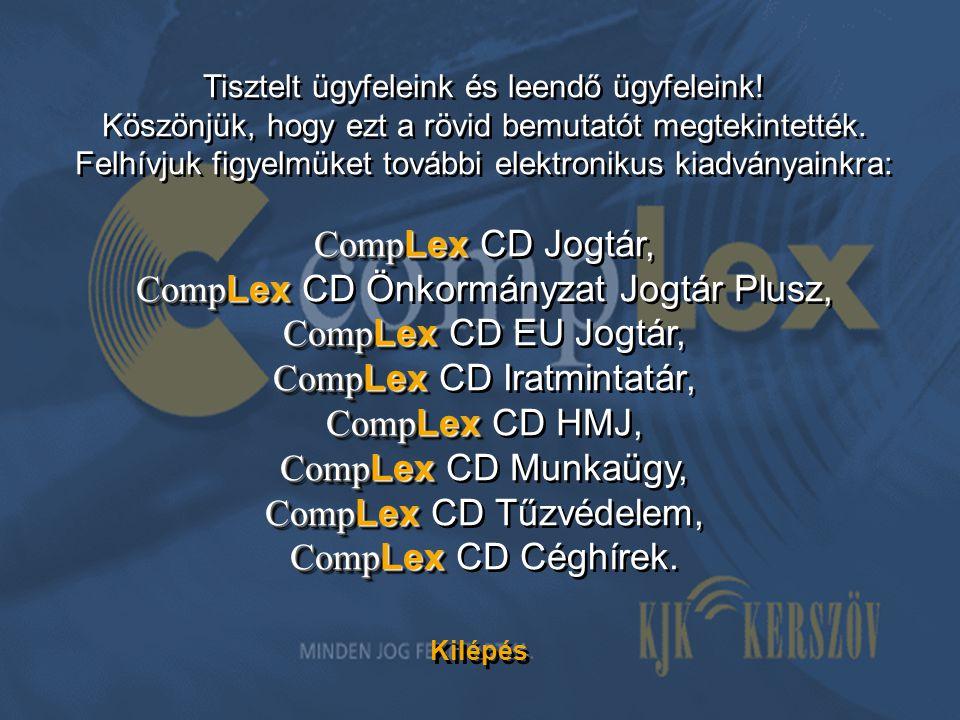CompLex CD Önkormányzat Jogtár Plusz, CompLex CD EU Jogtár,