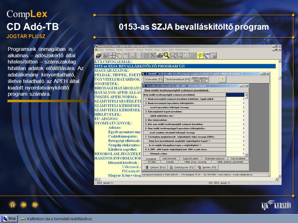 0153-as SZJA bevalláskitöltő program