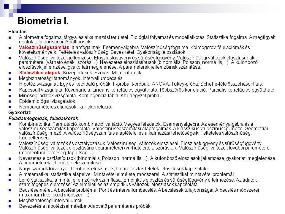 Biometria I. Előadás: