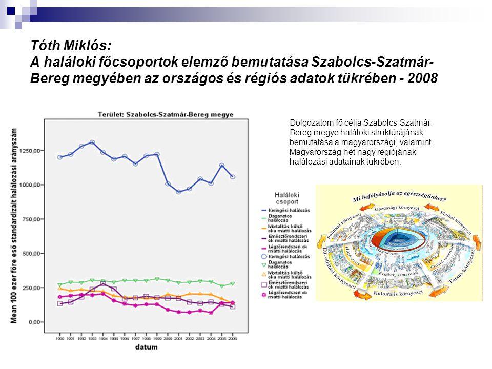 Tóth Miklós: A haláloki főcsoportok elemző bemutatása Szabolcs-Szatmár-Bereg megyében az országos és régiós adatok tükrében - 2008