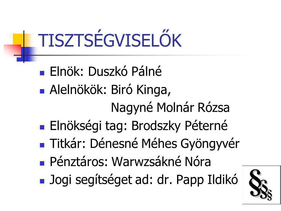 TISZTSÉGVISELŐK Elnök: Duszkó Pálné Alelnökök: Biró Kinga,