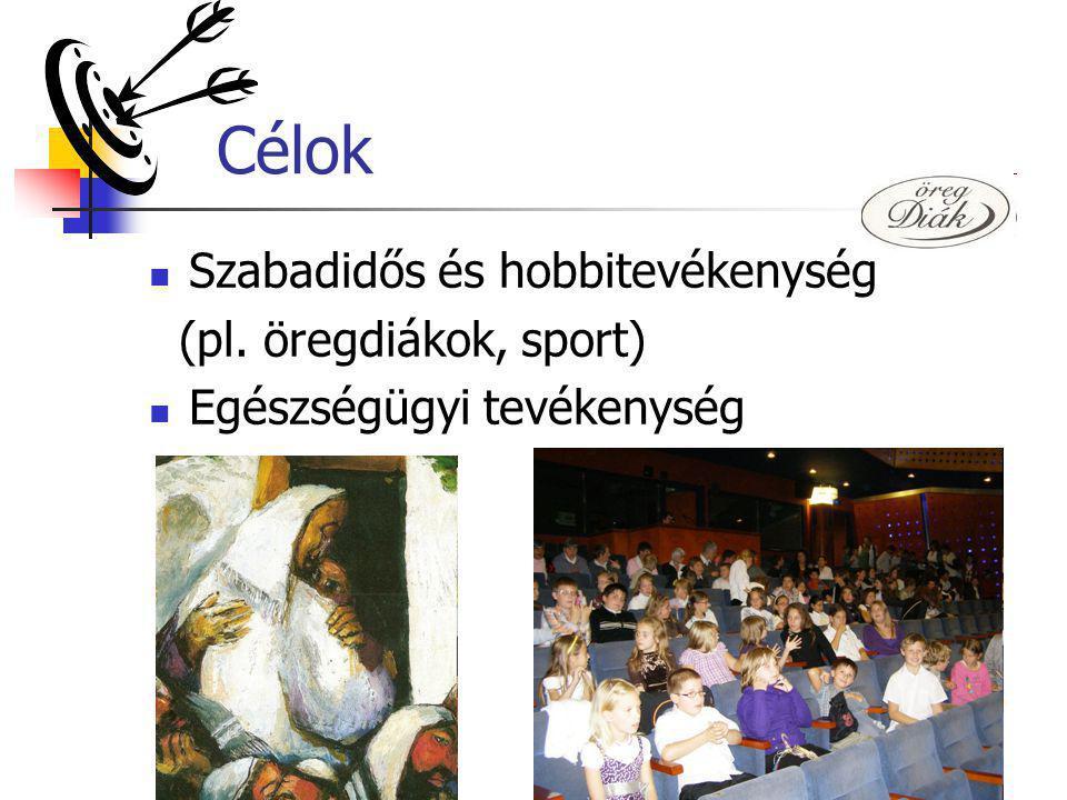 Célok Szabadidős és hobbitevékenység (pl. öregdiákok, sport)