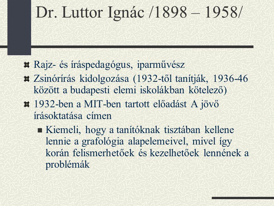 Dr. Luttor Ignác /1898 – 1958/ Rajz- és íráspedagógus, iparművész