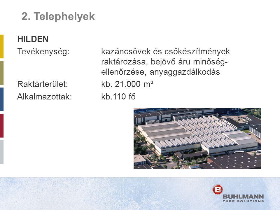 2. Telephelyek HILDEN. Tevékenység: kazáncsövek és csőkészítmények raktározása, bejövő áru minőség- ellenőrzése, anyaggazdálkodás.
