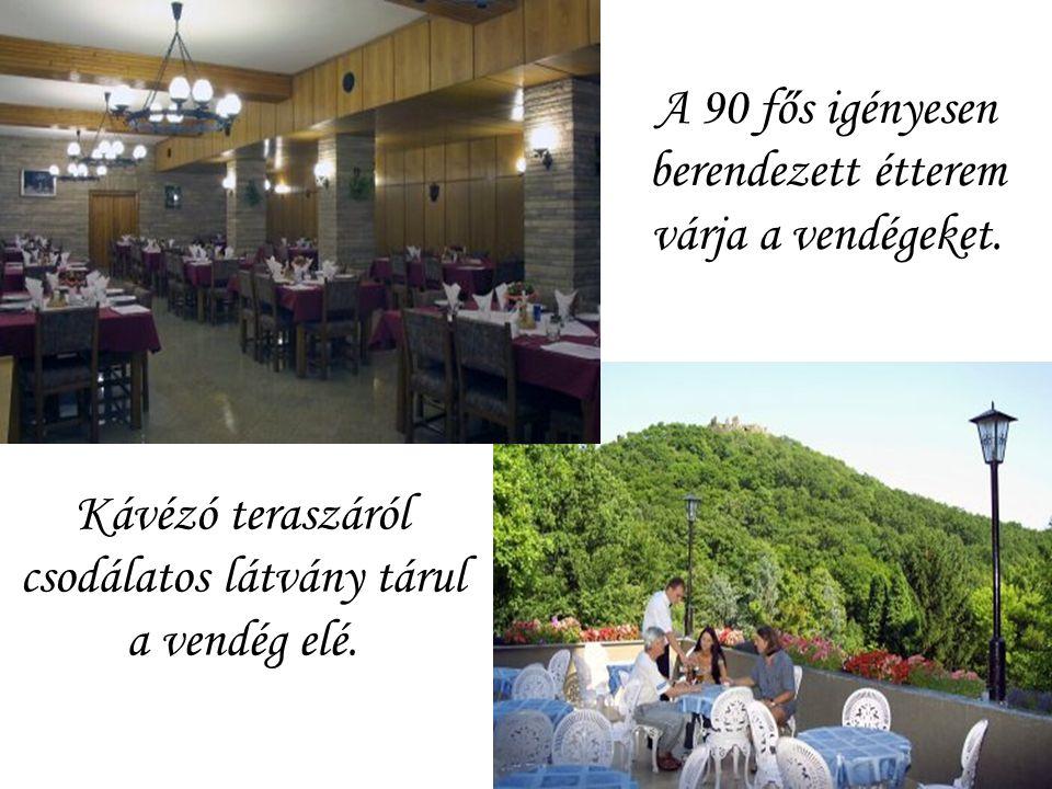 A 90 fős igényesen berendezett étterem várja a vendégeket.
