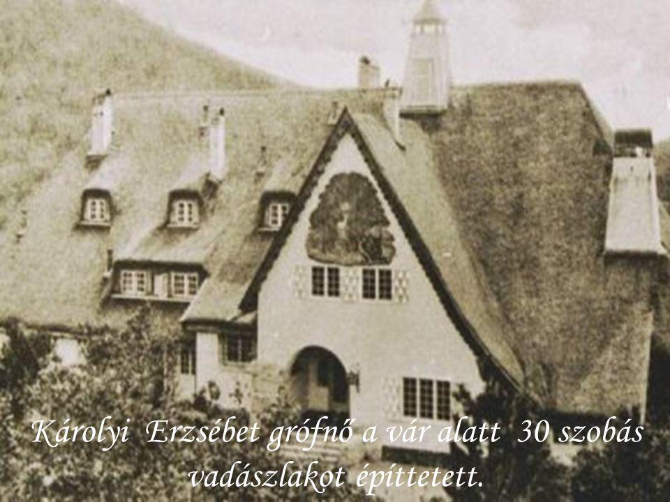 Károlyi Erzsébet grófnő a vár alatt 30 szobás vadászlakot építtetett.