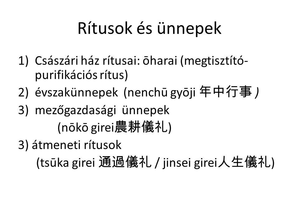 Rítusok és ünnepek Császári ház rítusai: ōharai (megtisztító-purifikációs rítus) évszakünnepek (nenchū gyōji 年中行事 )