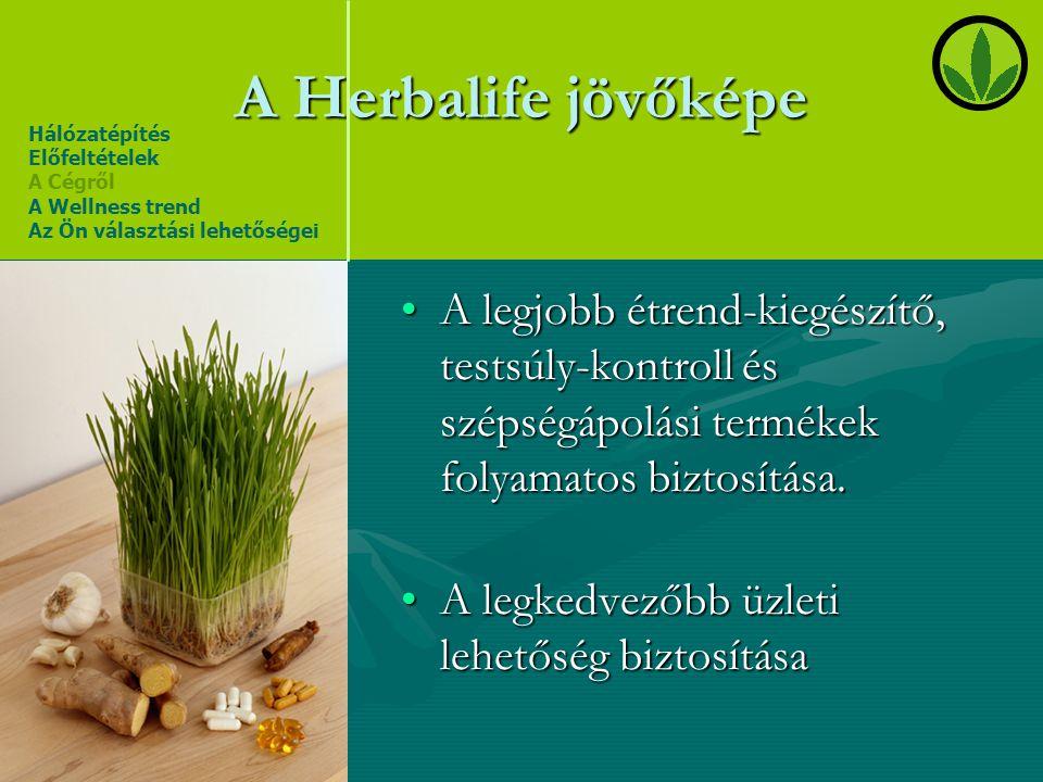 A Herbalife jövőképe Hálózatépítés. Előfeltételek. A Cégről. A Wellness trend. Az Ön választási lehetőségei.