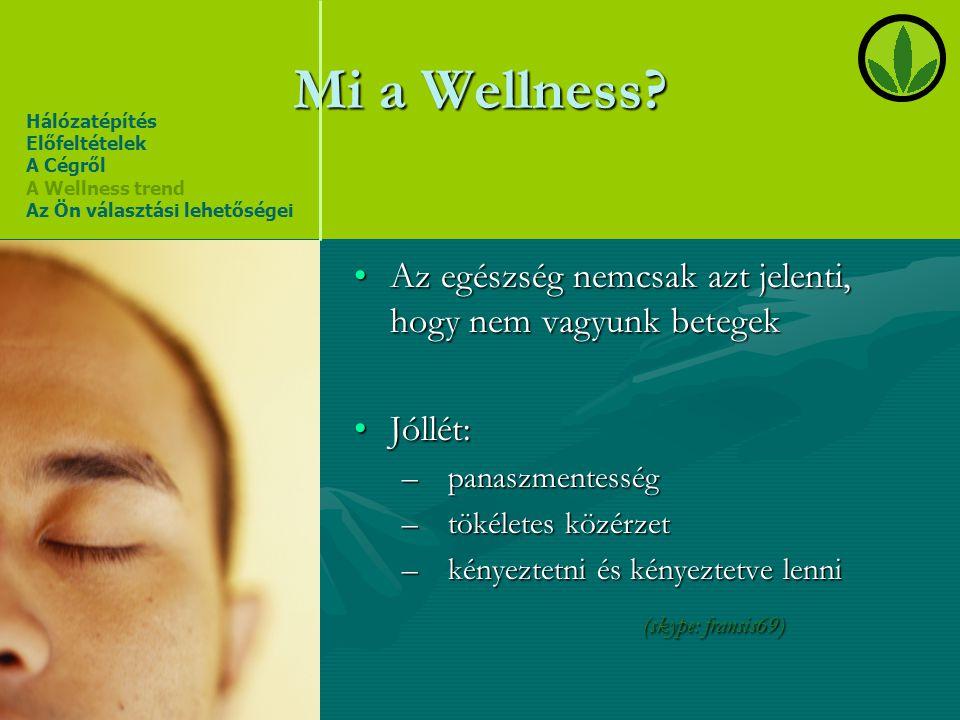 Mi a Wellness Hálózatépítés. Előfeltételek. A Cégről. A Wellness trend. Az Ön választási lehetőségei.