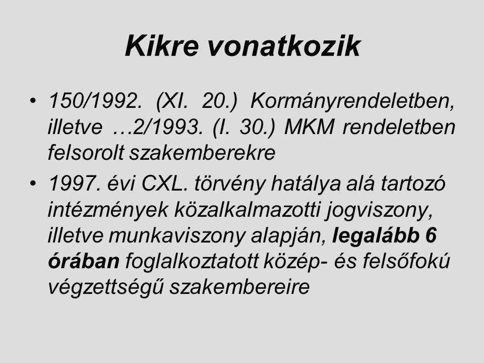 Kikre vonatkozik 150/1992. (XI. 20.) Kormányrendeletben, illetve …2/1993. (I. 30.) MKM rendeletben felsorolt szakemberekre.