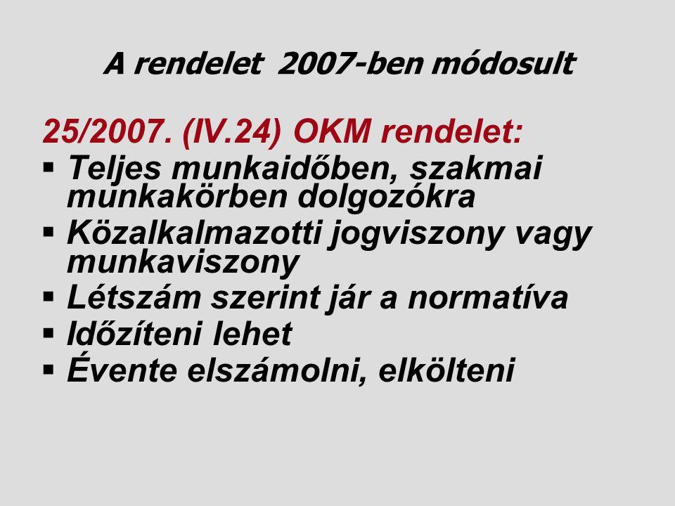 A rendelet 2007-ben módosult
