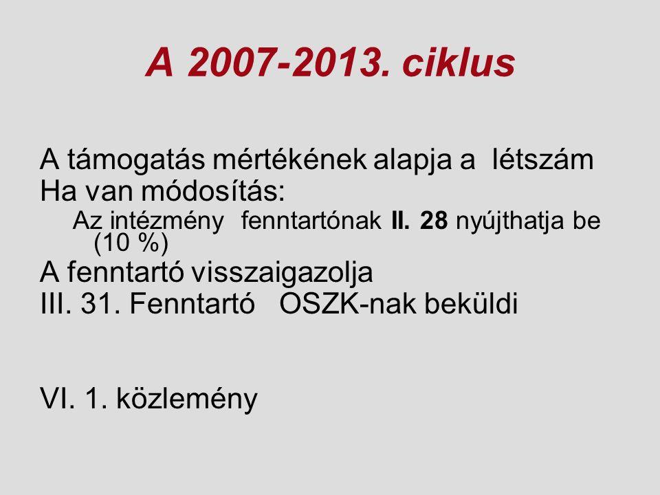 A 2007-2013. ciklus A támogatás mértékének alapja a létszám