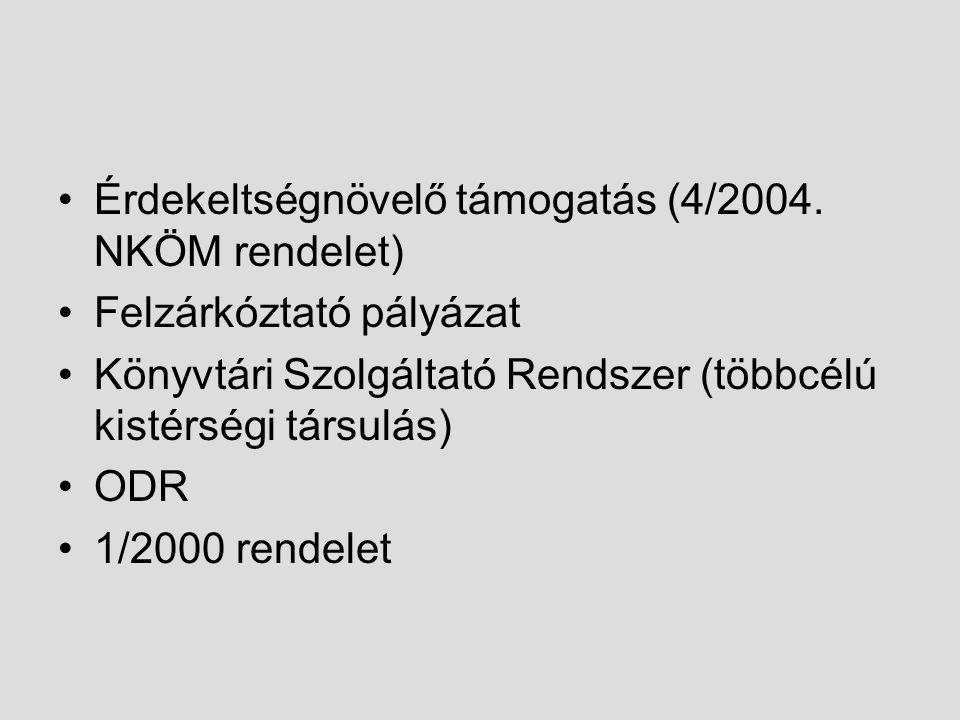 Érdekeltségnövelő támogatás (4/2004. NKÖM rendelet)