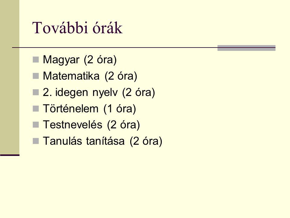 További órák Magyar (2 óra) Matematika (2 óra) 2. idegen nyelv (2 óra)