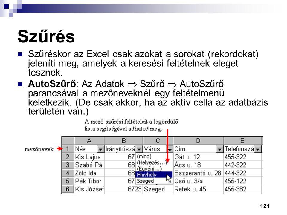 Szűrés Szűréskor az Excel csak azokat a sorokat (rekordokat) jeleníti meg, amelyek a keresési feltételnek eleget tesznek.