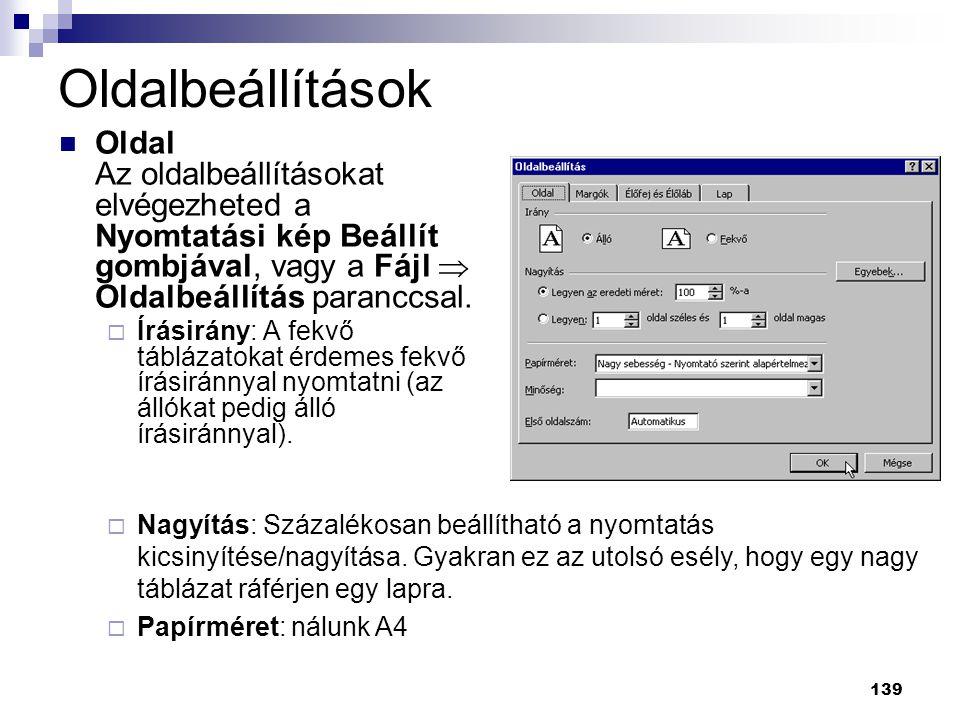 Oldalbeállítások Oldal Az oldalbeállításokat elvégezheted a Nyomtatási kép Beállít gombjával, vagy a Fájl  Oldalbeállítás paranccsal.