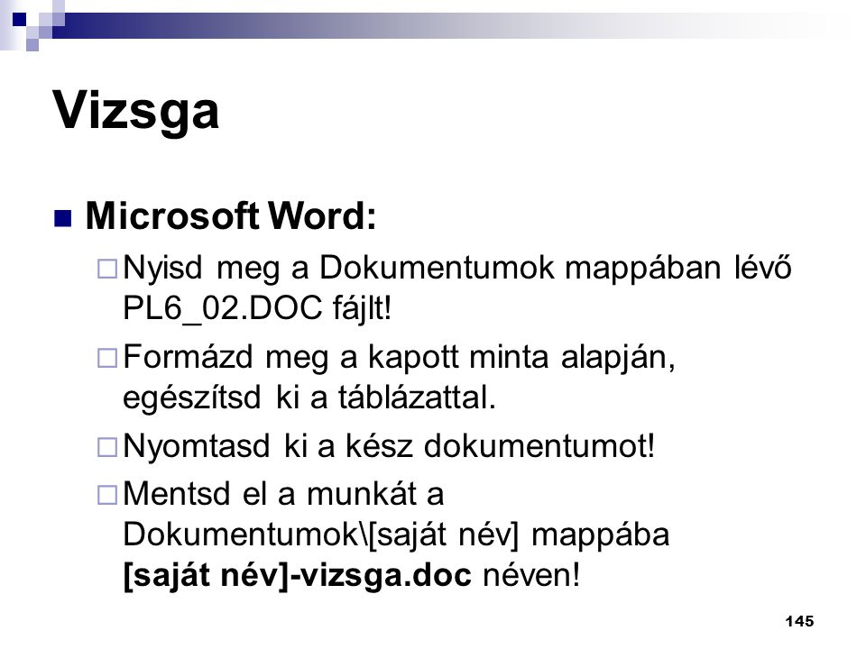 Vizsga Microsoft Word: