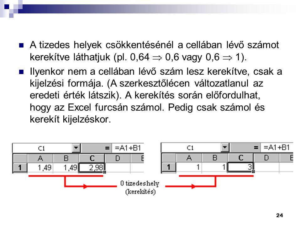 A tizedes helyek csökkentésénél a cellában lévő számot kerekítve láthatjuk (pl. 0,64  0,6 vagy 0,6  1).