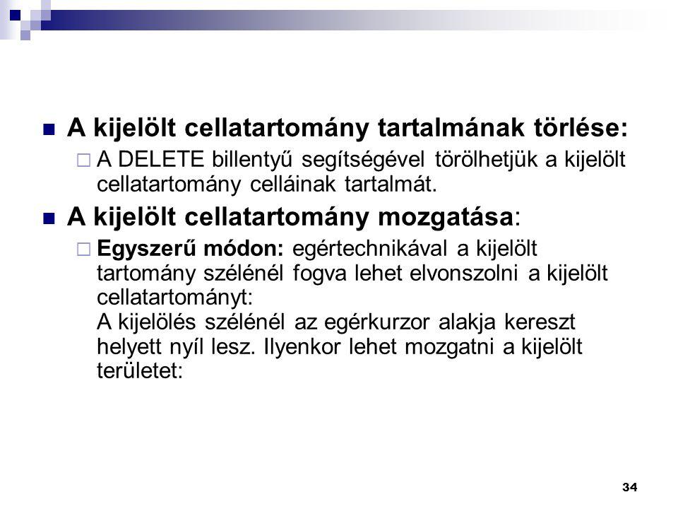A kijelölt cellatartomány tartalmának törlése: