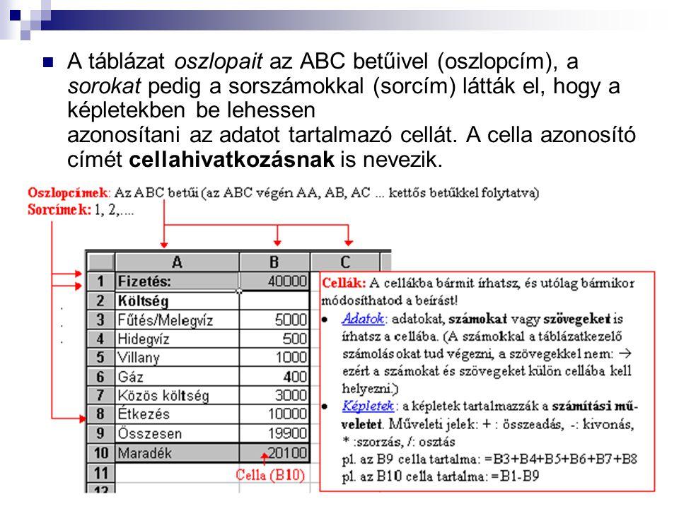 A táblázat oszlopait az ABC betűivel (oszlopcím), a sorokat pedig a sorszámokkal (sorcím) látták el, hogy a képletekben be lehessen azonosítani az adatot tartalmazó cellát.