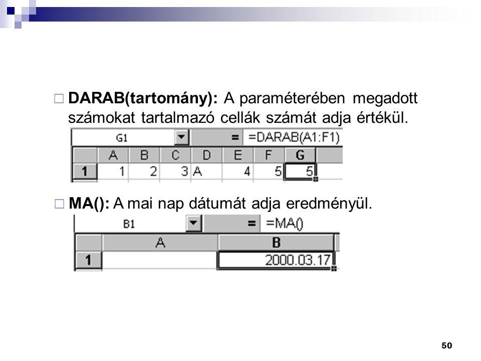 DARAB(tartomány): A paraméterében megadott számokat tartalmazó cellák számát adja értékül.