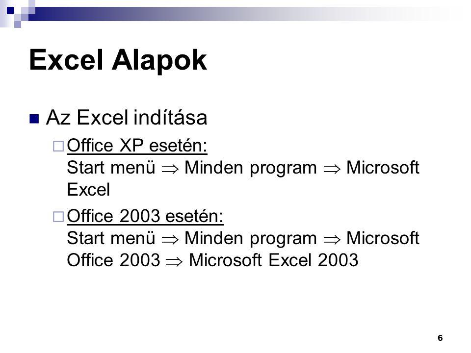 Excel Alapok Az Excel indítása