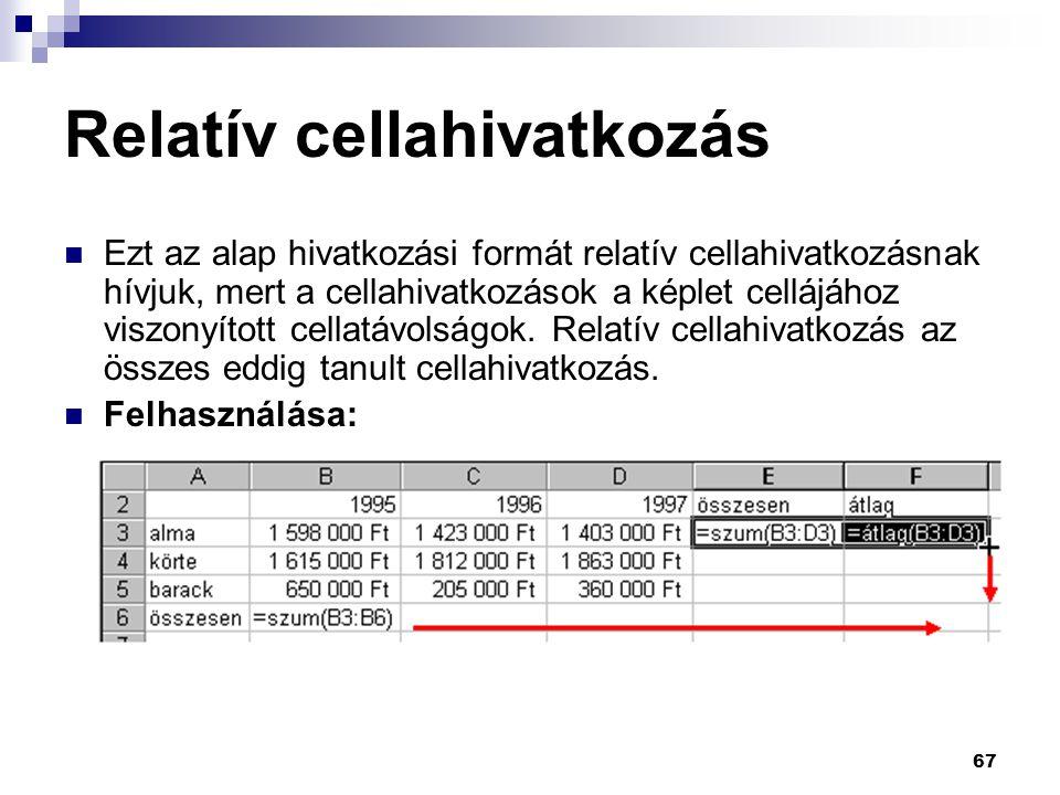 Relatív cellahivatkozás