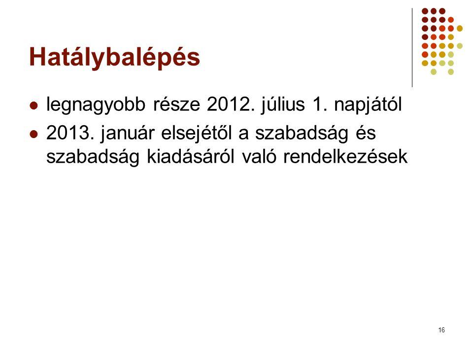 Hatálybalépés legnagyobb része 2012. július 1. napjától
