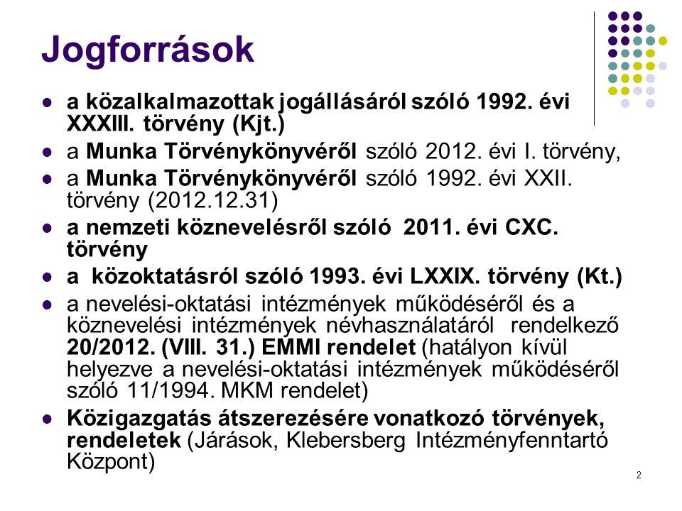 Jogforrások a közalkalmazottak jogállásáról szóló 1992. évi XXXIII. törvény (Kjt.) a Munka Törvénykönyvéről szóló 2012. évi I. törvény,