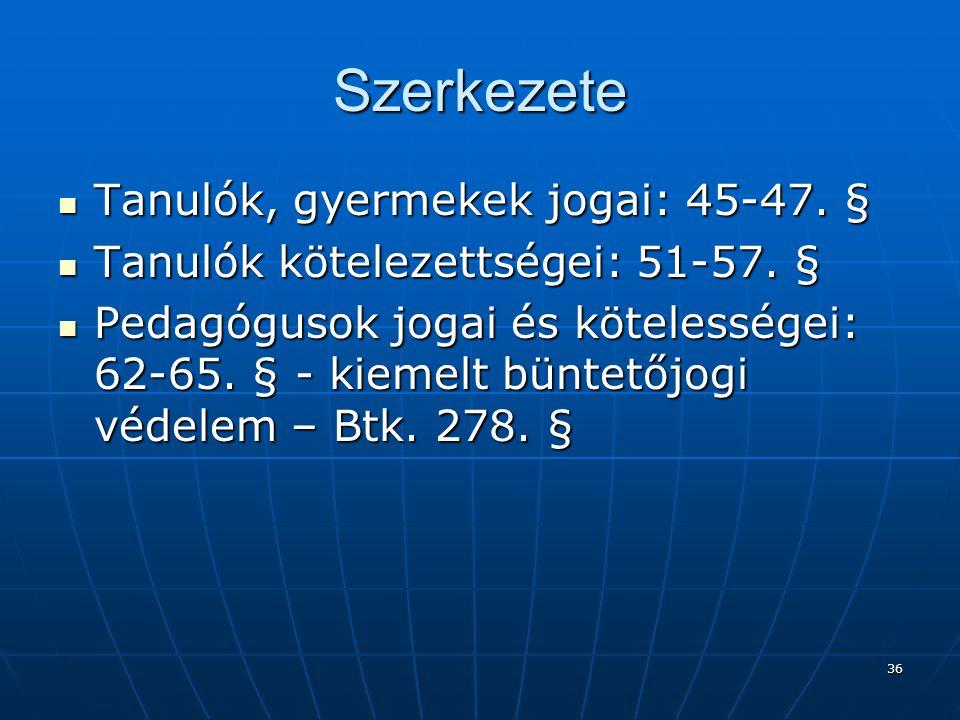 Szerkezete Tanulók, gyermekek jogai: 45-47. §