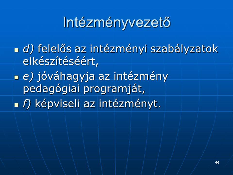 Intézményvezető d) felelős az intézményi szabályzatok elkészítéséért,
