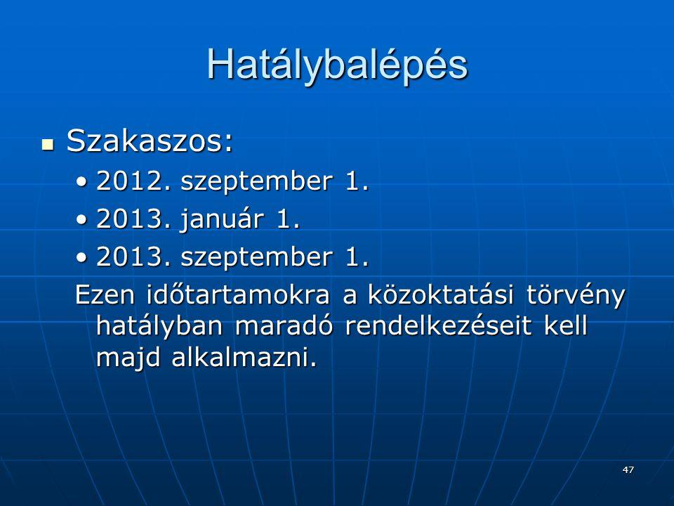 Hatálybalépés Szakaszos: 2012. szeptember 1. 2013. január 1.