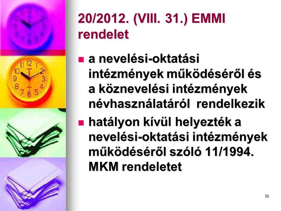 20/2012. (VIII. 31.) EMMI rendelet a nevelési-oktatási intézmények működéséről és a köznevelési intézmények névhasználatáról rendelkezik.