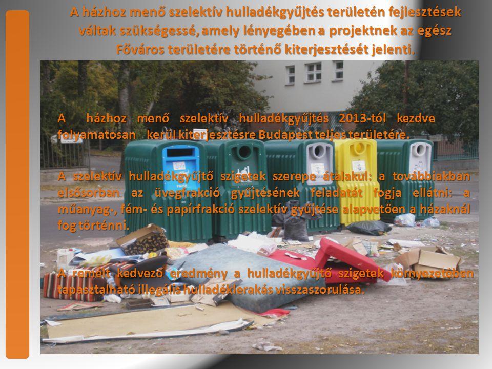 A házhoz menő szelektív hulladékgyűjtés területén fejlesztések váltak szükségessé, amely lényegében a projektnek az egész Főváros területére történő kiterjesztését jelenti.