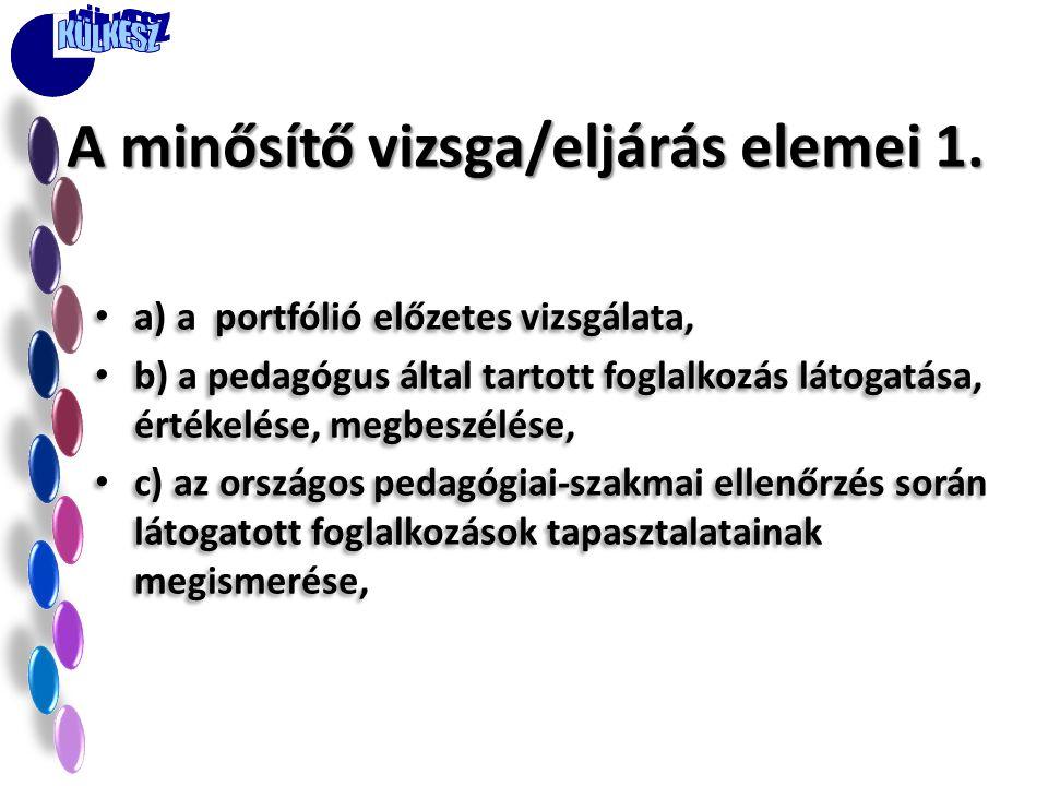 A minősítő vizsga/eljárás elemei 1.