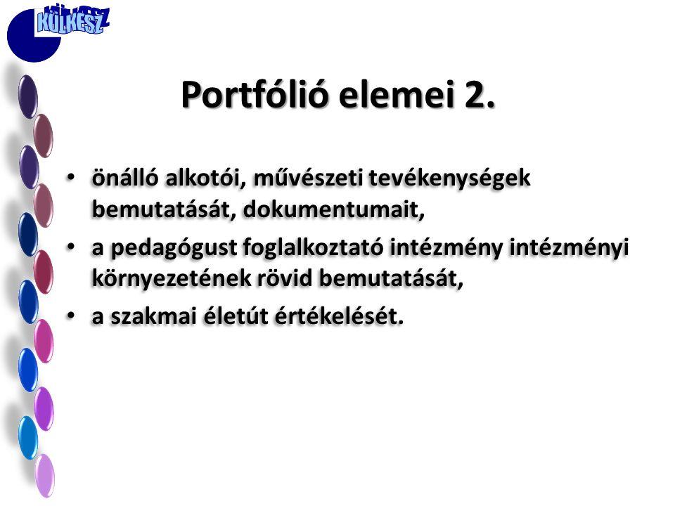 Portfólió elemei 2. önálló alkotói, művészeti tevékenységek bemutatását, dokumentumait,