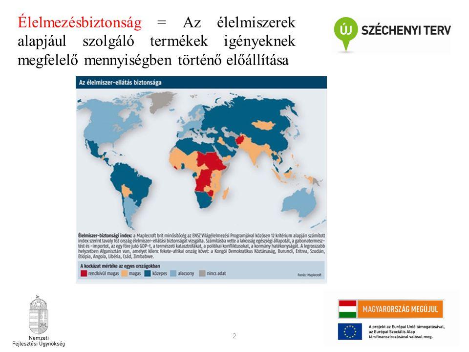 Élelmezésbiztonság = Az élelmiszerek alapjául szolgáló termékek igényeknek megfelelő mennyiségben történő előállítása