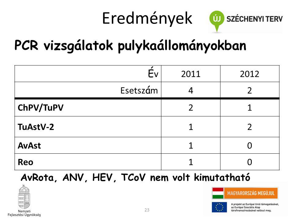 Eredmények PCR vizsgálatok pulykaállományokban Év 2011 2012 Esetszám 4