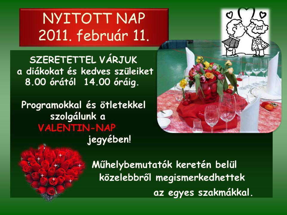 NYITOTT NAP 2011. február 11. SZERETETTEL VÁRJUK