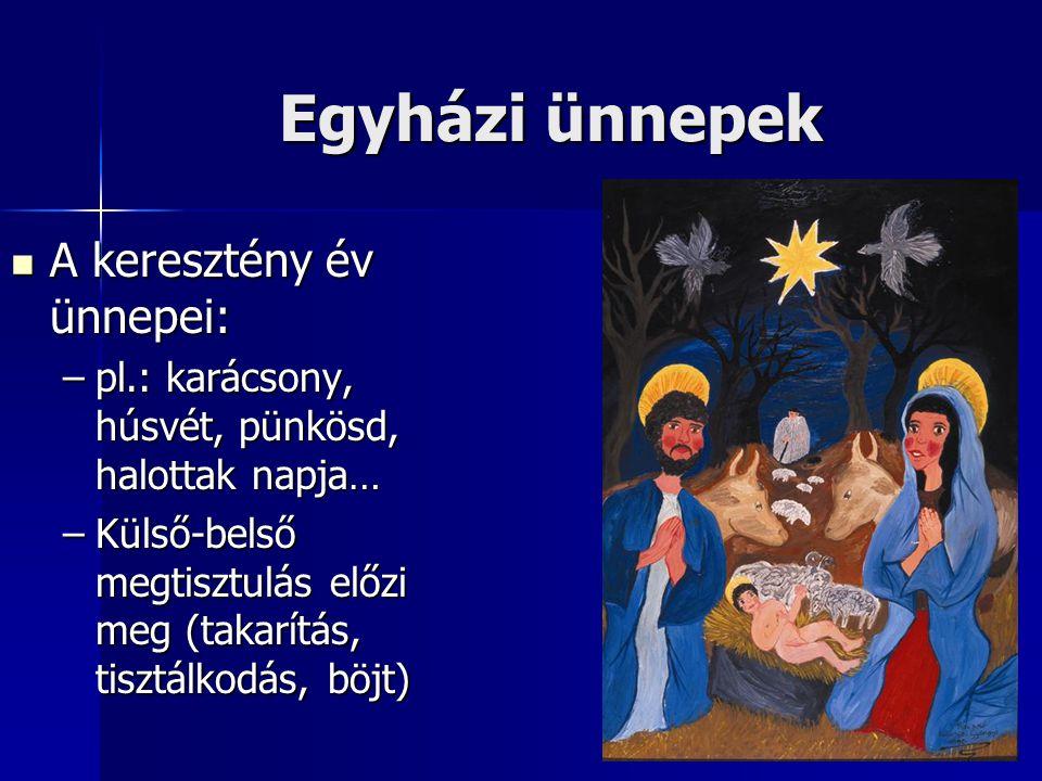 Egyházi ünnepek A keresztény év ünnepei:
